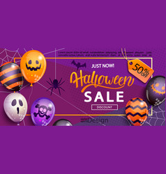 sale banner for halloween vector image