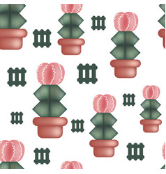 seamless pattern with cactus and geometric vector image
