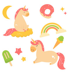 set cute magical unicorns with bright elements vector image