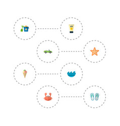 Set of beach icons flat style symbols with pail vector