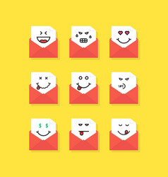 set of emoji messages in letters vector image