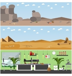 Set of posters banners with archaeologists vector