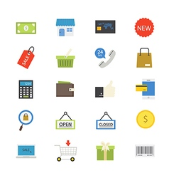 Shopping and Online Shopping Flat Icons color vector