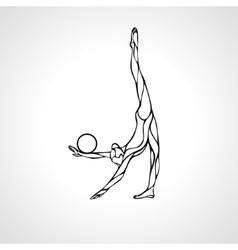 Silhouette of art rhythmic gymnastic girl with vector