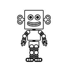 silhouette retro robot toy flat icon vector image