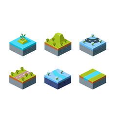 summer and winter natural landscape set game vector image
