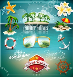 Summer holiday icon set on blue sea background vector