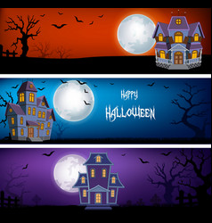 three set of halloween banners vector image