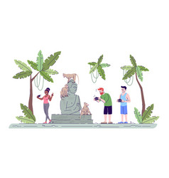 Tourists taking photos flat doodle people vector