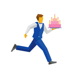 waiter in blue runs with a cake on a tray vector image