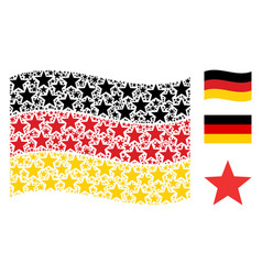 Waving germany flag mosaic of fireworks star icons vector