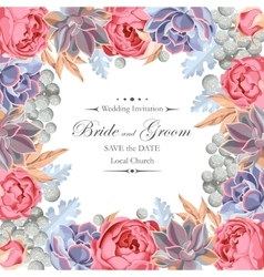 Wedding invitation with peony roses and succulents vector