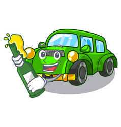With beer classic car toys in cartoon shape vector