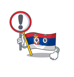 With sign flag serbia isolated with character vector