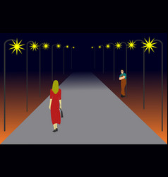 Women are walking on a lonely road vector
