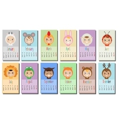 year calendar with Kids in party Outfit Children vector image