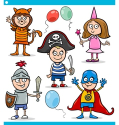 children in fancy ball costumes set vector image