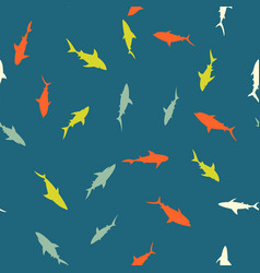 colorful pattern with bright sharks vector image