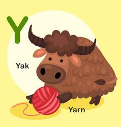 isolated animal alphabet letter y-yak yarn vector image vector image