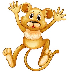 Lion cub jumping up vector