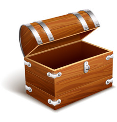 Old empty vintage wooden trunk vector image vector image