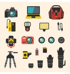 Photographer kit with camera elements flat vector image vector image