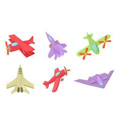 plane icon set cartoon style vector image