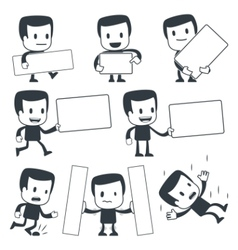 cartoon man with signs vector image