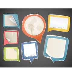 Collectionn of vintage paper speech clouds vector image vector image