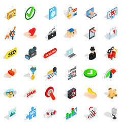 computer protection icons set isometric style vector image