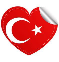 sticker design for turkey flag in heart shape vector image vector image