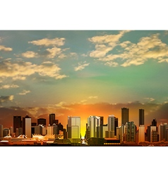 abstract green sunrise background with panorama of vector image vector image