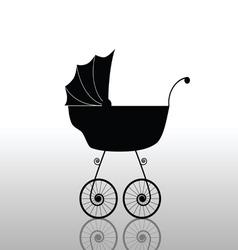 baby stroller old black vector image vector image