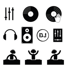 dj icon set in black color vector image vector image
