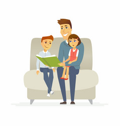 father reads a fairytale - cartoon people vector image vector image