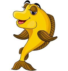 funny yellow cartoon fish vector image vector image
