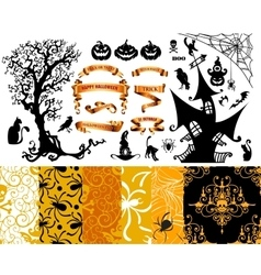 Happy Halloween background Set of seamless vector image