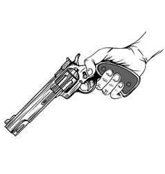 revolver in hand vector image