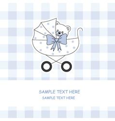 baby boy carriage with a teddy bear vector image vector image