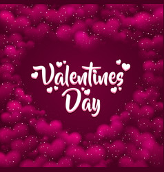 pink hearted background with a valentines day vector image vector image