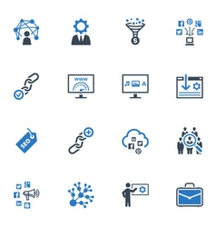SEO and Internet Marketing Icons Set 2-Blue Series vector image