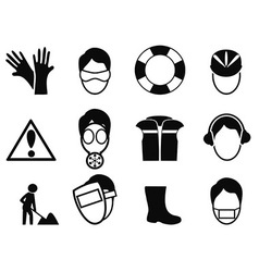work safety icons set vector image vector image