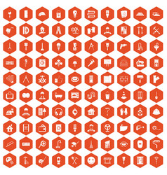 100 renovation icons hexagon orange vector