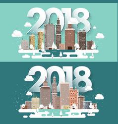 2018 winter urban landscape vector image