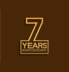 7 years anniversary design line style with square vector