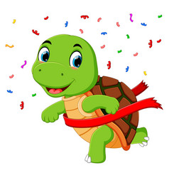 a turtle racing to the finish line vector image