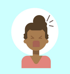 African american female screaming emotion profile vector