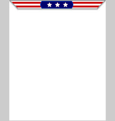 American flag blank frame vector