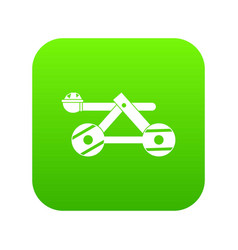 Ancient wooden catapult icon digital green vector