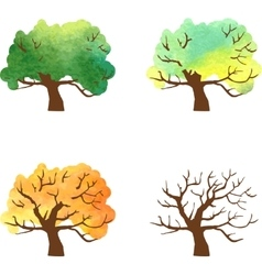 autumn tree changes by watercolor vector image